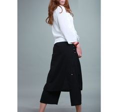 SILK Culottes and Layered Skirt With Handmade Buttons/ 8 Colors/ RAMIES