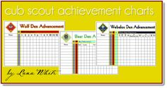 Cub Scout Achievement Charts- fun way for the boys to chart their progress