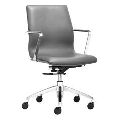 Zuo Modern Herald Low Back Office Chair Gray - 206152