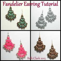 This listing is for a 13 page pdf tutorial on how to make my Fandelier Earrings. Included are step by step instructions with figures on how to make these earrings. This pattern uses Superduos and size
