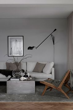 New living room grey walls brown couch floors Ideas Living Room White, New Living Room, Living Room Modern, Living Room Sofa, Living Room Interior, Living Room Designs, Living Room Decor, Modern Couch, Interior Livingroom