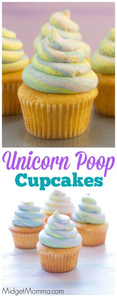 Fun cupcakes made with homemade buttercream frosting that kids will love. It is so much fun to eat these Unicorn Poop Cupcakes! Apple Cake Recipes, Cupcake Recipes, Cookie Recipes, Dessert Recipes, Desserts, Icing Recipes, Unicorn Cupcakes, Fun Cupcakes, Cupcake Cakes