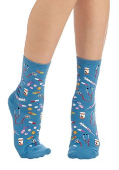 Med Cool Socks. Up the dose on your smart sense of style by adding these blue above-the-ankle socks to your wardrobe. #blue #modcloth