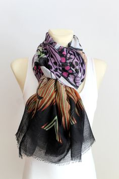 Purple Butterfly Scarf - Animal Print Scarf - Butterfly Fabric Scarf - Women Fashion Accessories - Boho Gift Idea for Women - Autumn Spring