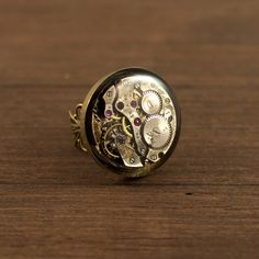 Steampunk Ring Watch Ring Antique brass ring by NestreJewellery