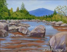"""Rock Pool"" by Nuala Holloway - Oil on Board www.nualaholloway.com #Trees #Mountain #Rocks #Landscape"