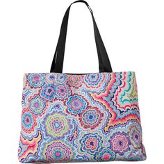 RVCA Women's Psychedelic Tote Bag ($49) ❤ liked on Polyvore featuring bags, handbags, tote bags, rvca, multi, white tote purse, white tote bag, tote handbags, nylon handbags and nylon handbags totes