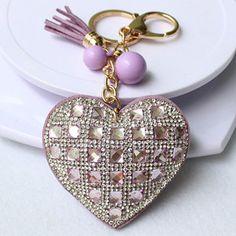 Romantic Women Key Chain Love Heart Pendant Leather tassel Rhinestone crystal Key chain key rings women Gift 8 Colors Wholesale
