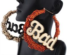 Basketball Wives Ladies Orange Bamboo Style with Silver Bad& Pincatch Hoop Earrings Poparazzi