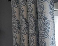 Extra Long Jacquard Curtain with White and Gray/Silver | Etsy Ikat Curtains, Pinch Pleat Curtains, Pleated Curtains, Drapery Panels, Drapery Fabric, Panel Curtains, Blue And White Curtains, Free Fabric Swatches, Custom Drapes