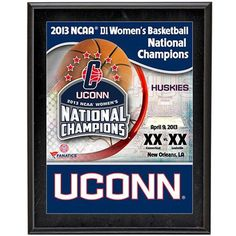 """UConn Huskies 2013 NCAA Women's Basketball National Champions 10 1/2"""" x 13"""" Sublimated Plaque"""