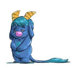Sad little monster. #monster #sad #art #characterdesign #cute #illustration #fuzzlelump