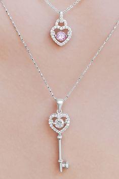 18K Rose Gold GF Elegant Clover Heart Key Pendant Long Necklace Sweater Chain