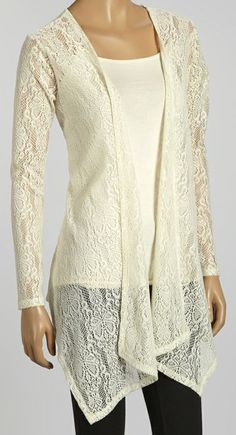 Natural Lace Long Open Cardigan