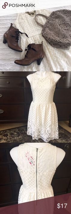 "Lace Dress Adorable Ivory lace dress, fully lined. Measures 35"" from shoulder to hem. NEVER WORN. Xhilaration Dresses"