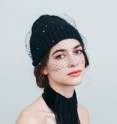 The chicest way to warm up this winter, our Crystal Voilette Beanie is like a veil of delicate snowflakes and serious style. This beanie comes complete with Swarovski crystal studded veiling and is made by hand in NYC.  We ship worldwide! Orders ship within 3-5 business days. Please email shop@jenniferbehr.com or call 718-360-1875 to request expedited shipping. We are a small team and are happy to answer your questions 10am - 6pm, Monday - Friday :) $625.00