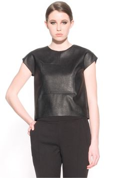 Arlis Leather top by Valerie Dumaine. Faux leather crop top.
