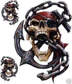 Aufkleber Set Pirat Totenkopf Anker Kette Airbrush Decal Pirate Skull Anchor Top in Auto & Motorrad Teile, Motorrad- & Kraftradteile, Accessoires & Literatur Skull Tattoo Design, Skull Design, Tattoo Designs, Gott Tattoos, Pirate Skull Tattoos, Indian Skull Tattoos, Laser Cut Stencils, Pirate Art, Pirate Life