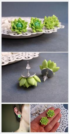 Succulent stud earrings light green & turquoise made of polymer clay, Mini succulent jewelry, Small gift for girl- Olif Bijou. Succulent Jewelry and Floral Bijouteri- Polymer Clay Flowers, Fimo Clay, Polymer Clay Projects, Polymer Clay Charms, Polymer Clay Creations, Polymer Clay Earrings, Clay Crafts, Polymer Clay Art, Polymer Clay Christmas