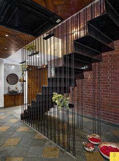 Concrete Bricks, Exposed Concrete, Exposed Brick, Wooden Swings, Penthouse Apartment, Colour Pallete, Architectural Elements, Apartment Design, My Dream Home