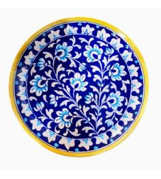 Blue Pottery Deco Plate With Yellow Border