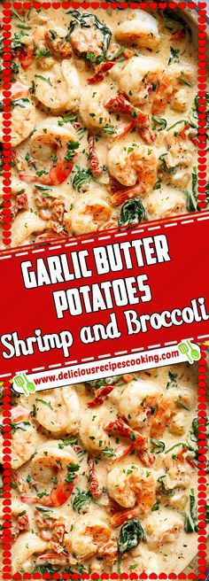 Garlic Butter Potatoes, Shrimp and Broccoli - healthy recipes & list of dishes and heart healthy recipes