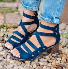b36221395a613 Spring Multi-Strap Heeled Sandals - Blue   US size