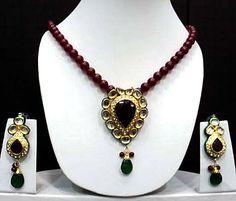 #Maroon and White #Kundan Studded #Necklace Set @ $106.25
