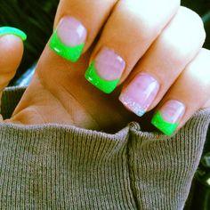 lime green and yellow nails nail