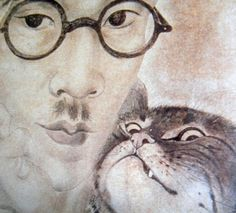 1926 Autoportrait au chat.  Aquarelle 23x23. Coll. Part. Détail