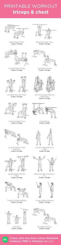 Fitness Motivation : triceps & chest: my custom printable workout by Chest Workouts, Gym Workouts, At Home Workouts, Chest Exercises, Ladies Gym Workout, Arm Workouts Women, Crossfit Arm Workout, Gym Workout Plan For Women, Weight Lifting Workouts