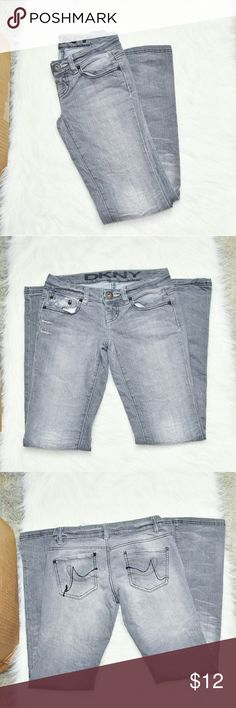 DKNY Grey Straight Cut Jeans In excellent condition! Very comfortable, stretchy, and flattering! Buy 3 items and get 1 free plus 15% off your purchase total! Dkny Pants Straight Leg
