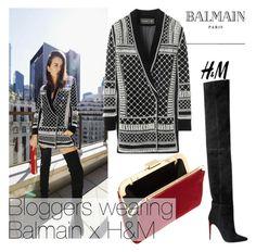 """Balmain x H&M"" by nfabjoy ❤ liked on Polyvore featuring Balmain, blogger and balmain"
