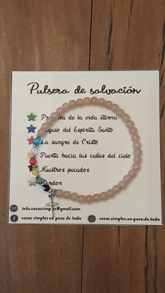 Pulsera de Salvación Cosas Simples Un poco de todo Homemade Jewelry, Diy Jewelry, Jewelry Making, Ring Necklace, Beaded Necklace, Easy Drawings Sketches, Ring Watch, Craft Free, Christening Gifts