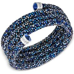 Swarovski Crystaldust Wrap Bracelet featuring polyvore, women's fashion, jewelry, bracelets, navy, wrap bracelet, swarovski jewelry, mixed-metal jewelry, navy jewelry and swarovski jewellery