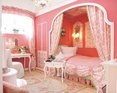 one of my very many dream rooms as a a little girl <--- hah! It's practically a dream room of mine NOW Dream Rooms, Dream Bedroom, Girls Bedroom, Bedroom Ideas, White Bedroom, Fantasy Bedroom, Pink Bedrooms, Small Bedrooms, Bedroom Inspiration