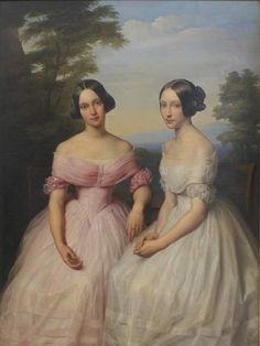 1842 Leopold Kupelwieser - Portrait of Mosigových sisters Victorian Paintings, Victorian Art, Victorian Portraits, Paintings I Love, Beautiful Paintings, 19th Century Fashion, Classical Art, Historical Costume, Renaissance Art