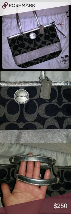 EUC Coach Black/Silver Canvas Tote (Will Trade) This bag is gorgeous! Its a canvas material with signature C pattern in black and silver that has a beautiful denim look. Large silver stripe across the bag on both sides. Silver leather straps, full zip closure, silver hardware, and black Iining in new condition. Inside has 1 big zipper pocket and 2 smaller misc pockets. Its light weight and can hold alot. Coach Bags Totes