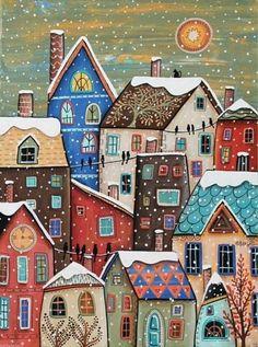 Snowfall Canvas Painting Folk Art Original Houses Cat Birds Karla G Art Et Illustration, Illustrations, Karla Gerard, Art Fantaisiste, House Quilts, Arte Popular, Naive Art, Winter Art, Whimsical Art