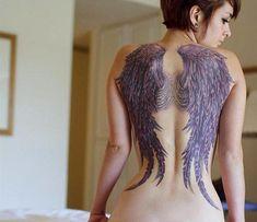 Wing tattoo for women - 35 Breathtaking Wings Tattoo Designs Wing Tattoo Men, Wing Tattoos On Back, Wing Tattoo Designs, Back Tattoos For Guys, Back Tattoo Women, Cover Up Tattoos, Tattoos For Women, Floral Back Tattoos, Purple Tattoos