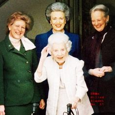 Queen Ingrid of Denmark (center) with her 3 daughters, Queen Anne Marie of Greece, Princess Benedikte, and Queen Margarethe of Denmark.