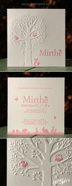 letterpers_letterpress_geboortekaartje_Mirthe_roze_boom__uiltje_eekhoorntje_preeg Laser Cut Invitation, Letterpress Invitations, Baptism Invitations, Invitation Cards, Stationery, Lil Baby, Baby Cards, Mom And Dad, Business Cards