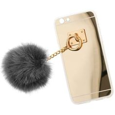 Miss Selfridge Grey Fluffy Pom Pom Phone Case ($22) ❤ liked on Polyvore featuring accessories, tech accessories, grey and miss selfridge