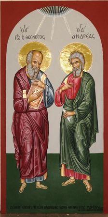 Apostles John and Andrew Byzantine Icons Religious Icons, Religious Art, Russian Icons, Byzantine Icons, Art Icon, Orthodox Icons, Christian Faith, Holy Spirit, Christ