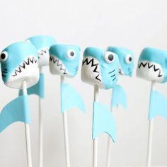 Shark marshmallow pops for shark week
