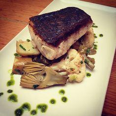 #TGSM Pan Roasted White Sea Bass, Cauliflower, Baby Artichokes, Fingerling Potatoes, Chopped Parsley, Basil Pesto