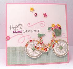 Papertrey May Bl. 16th Birthday Card, Handmade Birthday Cards, Bicycle Cards, Bday Cards, Scrapbook Cards, Scrapbooking, Stamping Up, Cool Cards, Kids Cards