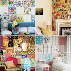 Instead of doing 1 pattern idea for wallpaper why not try patchwork wallpaper decoration patterns for empty walls? mmm sounds like something I would love to try :)