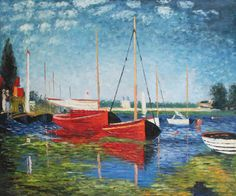 oil Painting room decor Red Boats at Argenteuil by Claude Monet Landscape art Handmade High quality Monet Paintings, Cheap Paintings, Impressionist Paintings, Popular Paintings, Claude Monet, Renoir, Landscape Art, Landscape Paintings, Home Wall Painting