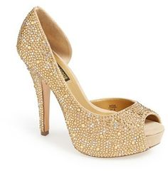 Benjamin Adams London 'Hamilton' Crystal Peep Toe Platform Pump (Women), A decadent half d'Orsay pump is done up in lush suede and covered in crystals for a dramatic, spotlight-worthy look.